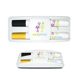 Customized Liquimark Dry Erase Gear Marker Eraser Set Black-Yellow