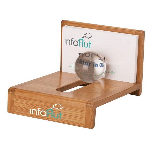 Promotional essentials globe bamboo business card holder for Promotional business card holder