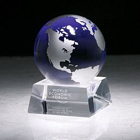 Promotional Crystal Firmada Ii Blue Globe Award