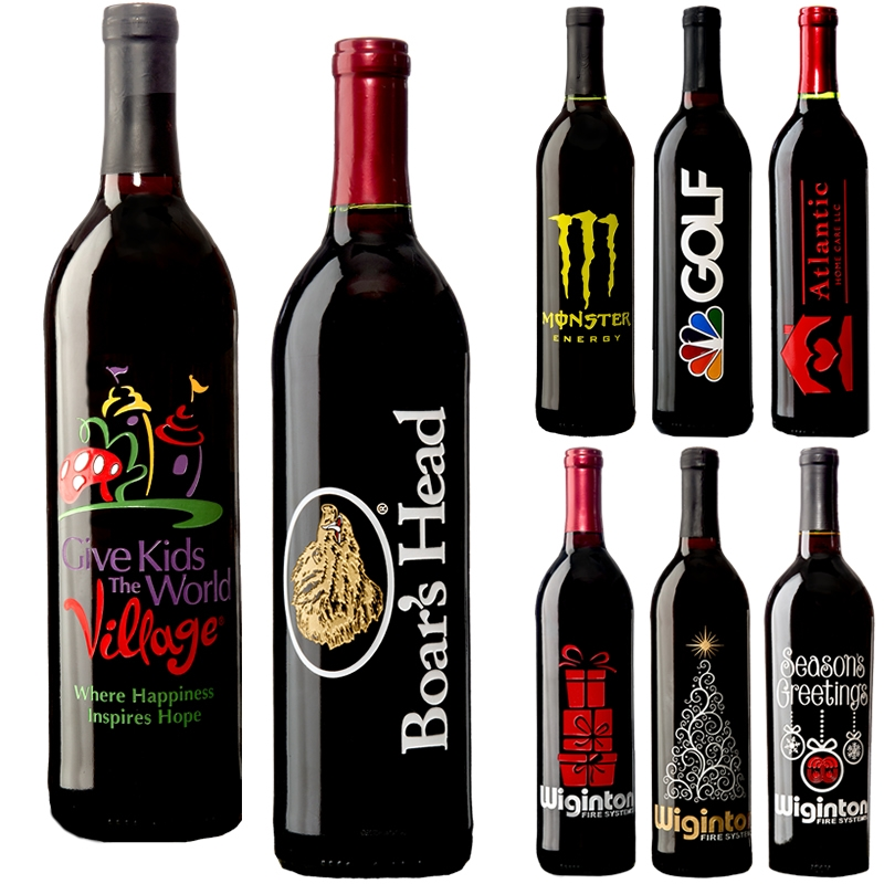 promotional etched wine bottle 750ml customized etched