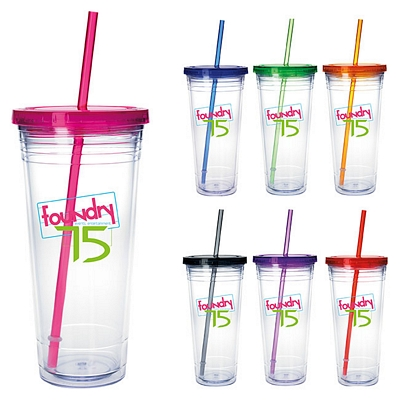 Promotional 24 oz Clear Tumbler with Colored Lid Customized 24 oz