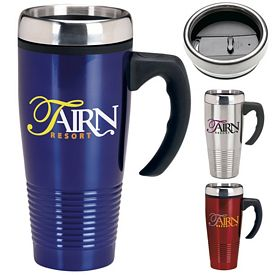 Promotional 17 oz. Stainless Ridged Handle Mug