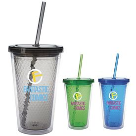 Promotional 18 oz. Double Wall Honeycomb Tumbler with Straw - CLOSEOUT ITEM