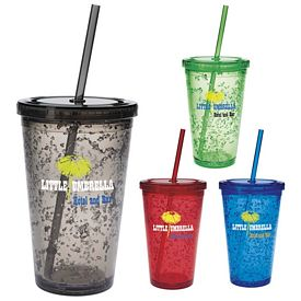 Promotional 18 oz. Double Wall Cooling Gel Straw Tumbler