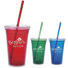 Promotional 18 oz. Double Wall Color-Inner Straw Tumbler