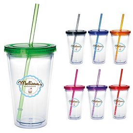 Promotional 18 oz. Clear Tumbler with Colored Lid