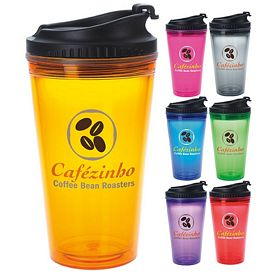 Promotional 18 oz. Colored Tumbler with Black Lid