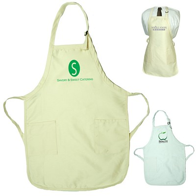 Promotional Gourmet Apron With Pockets  Natural White