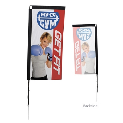 Promotional 7 Ft Rectangle Sail Sign Kit Single-Sided w/Spike Base