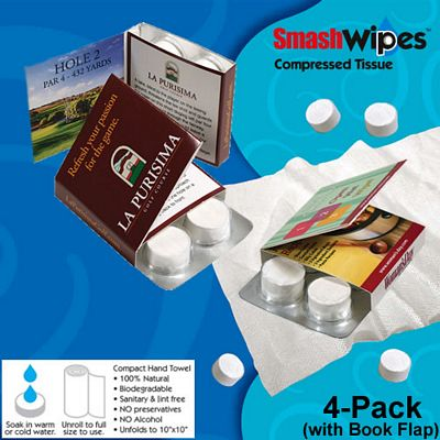 Promotional Compressed Tissue Wipes 4-Pack with Book Flap