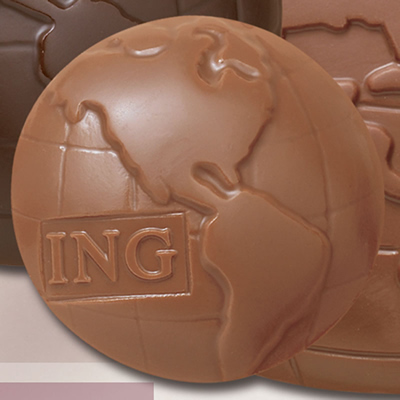 Promotional 1.5 oz Globe Cello Chocolate Shape