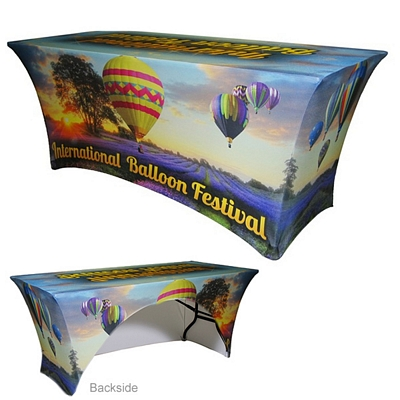 Customized 8 Ft Spandex Open-Back Tablecloth