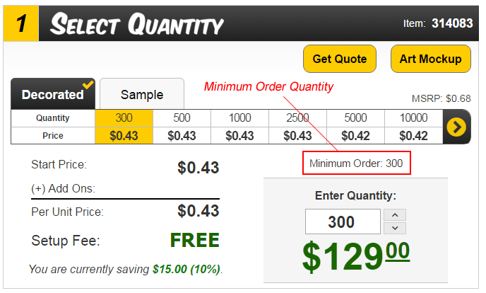 Minimum Order Quantities
