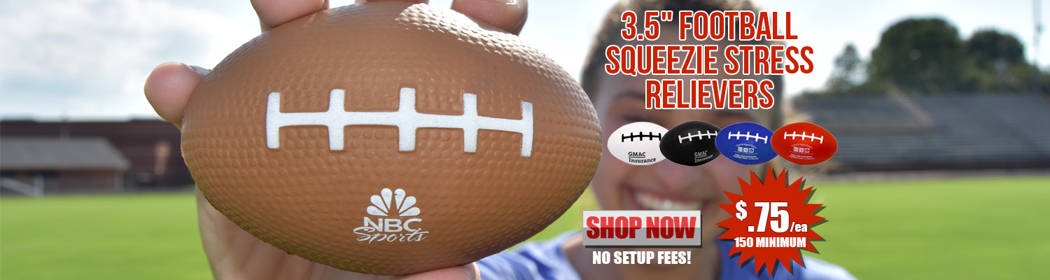 Promotional 3.5 in. Football Squeezie Stress Relievers