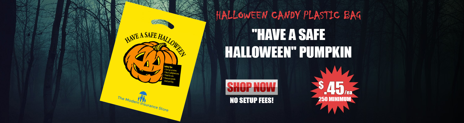 Halloween Candy Plastic Bag 'Have a Safe Halloween' Pumpkin