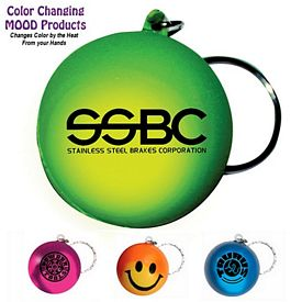 Promotional Mood Color Changing Smiley Face Stress Key Chain