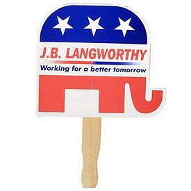Promotional Republican Elephant Patriotic Hand Fan