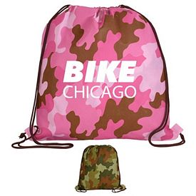 Promotional Non-Woven Camo Drawstring Backpack