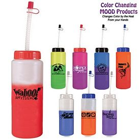 Promotional 32 oz. Mood Sports Bottle with Flexible Straw