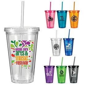 Promotional 16 oz. Victory Acrylic Tumbler with Straw