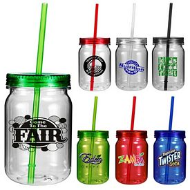Promotional 24 oz. Mix and Match Plastic Mason Jar