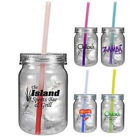 Promotional 24 oz. Plastic Mood Straw Mason Jar
