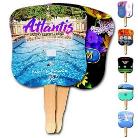 Promotional Hourglass Shape Hand Fan Full Color Digital