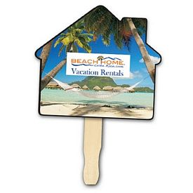Promotional House Shape Hand Fan Full Color Digital