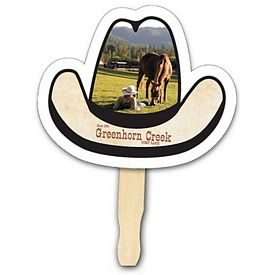 Promotional Cowboy Hat Shape Hand Fan Full Color Digital