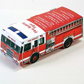 Promotional Foldable Die-Cut Fire Truck