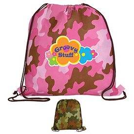 Promotional Non-Woven Camo Drawstring Backpack Full Color Digital