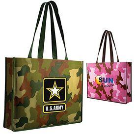 Promotional Non-Woven Camo Tote Bag Full Color Digital