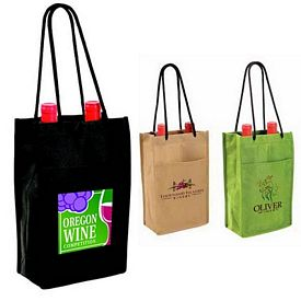Promotional Non-Woven Double Bottle Wine Bag Full Color Digital