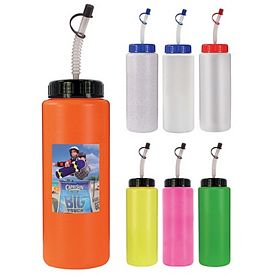 Promotional 32 oz. Sports Bottle with Flexible Straw (1 Side) Full Color Digital - BPA Free