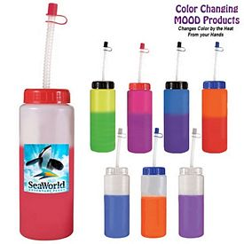 Promotional 32 oz. Mood Sports Bottle with Flexible Straw Full Color Digital