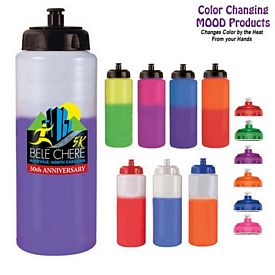 Promotional 32 oz. Mood Sports Bottle with Push 'n Pull Cap Full Color Digital