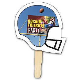 Promotional Football Shape Hand Fan Full Color Digital