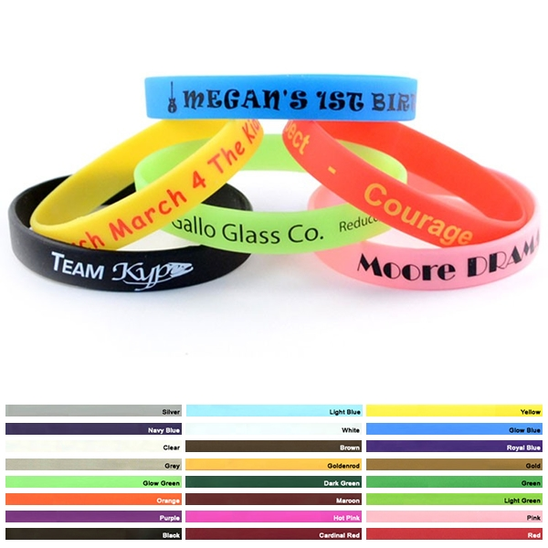 Promotioinal 1 2 Inch Printed Silicone Wristband Bracelets