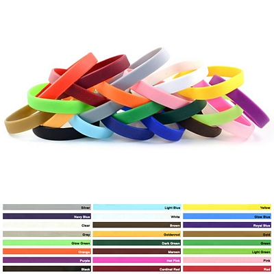 Custom 1-2-Inch Non-Printed Silicone Wristband Bracelets