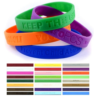 Promotional 1-2-Inch Debossed Silicone Awareness Wristbands