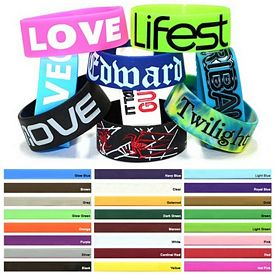Custom 1-Inch Colorfilled Silicone Wristbands