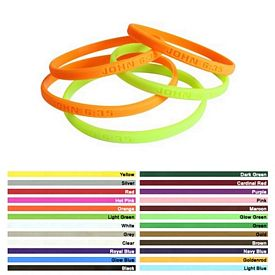 Promotional 1-4-Inch Mini Debossed Silicone Awareness Wristbands
