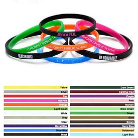 Promotional 1-4-Inch Mini Printed Silicone Wristband Bracelets
