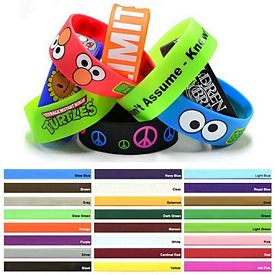 Promotional 1-Inch Printed Silicone Wristband Bracelets