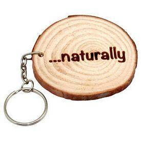 Promotional Natural Log Ring Wood Key Chain