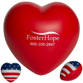 Customized American Flag Heart Squeezie Stress Reliever