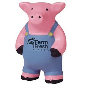 Promotional Farmer Pig Squeezie Stress Reliever