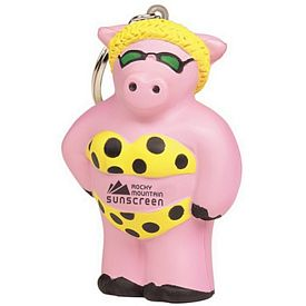 Customized Cool Beach Pig Squeezie Keyring