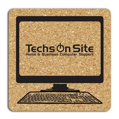 Customized Square Computer Medium Cork Coaster