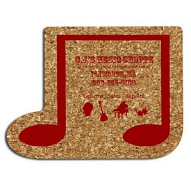 Promotional Music Note Medium Cork Coaster